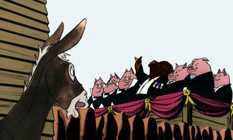 """Lừa và lũ lợn trong bộ phim """"Trại súc vật"""" năm 1954. Ảnh: Halas & Batchelor"""